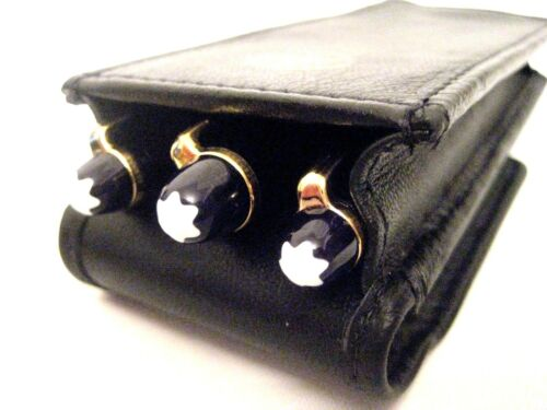 Pen Pouch Real Leather quality hand made Black Triple Magnetic Flap Pen Case