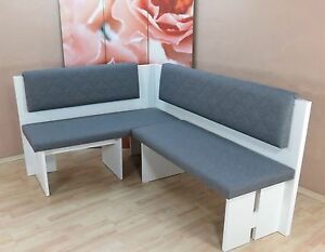 Eckbank L Form Weiß Graphit Küchenbank Essecke Polster Modern Design