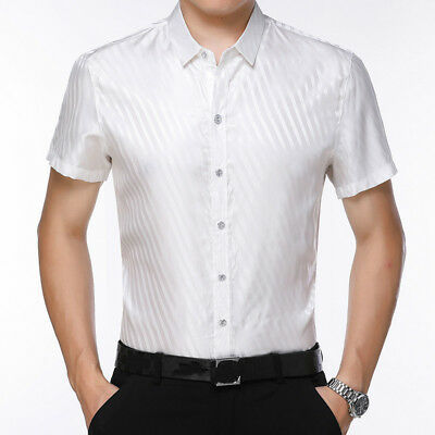 b9f6eef26f Classic Men Silk Satin Dress Shirt Damask Striped Formal Short Sleeve  Casual New