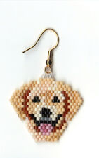"""A pair of hand beaded yellow Lab dog head dangle earrings. 1 AND 1/4"""" long"""