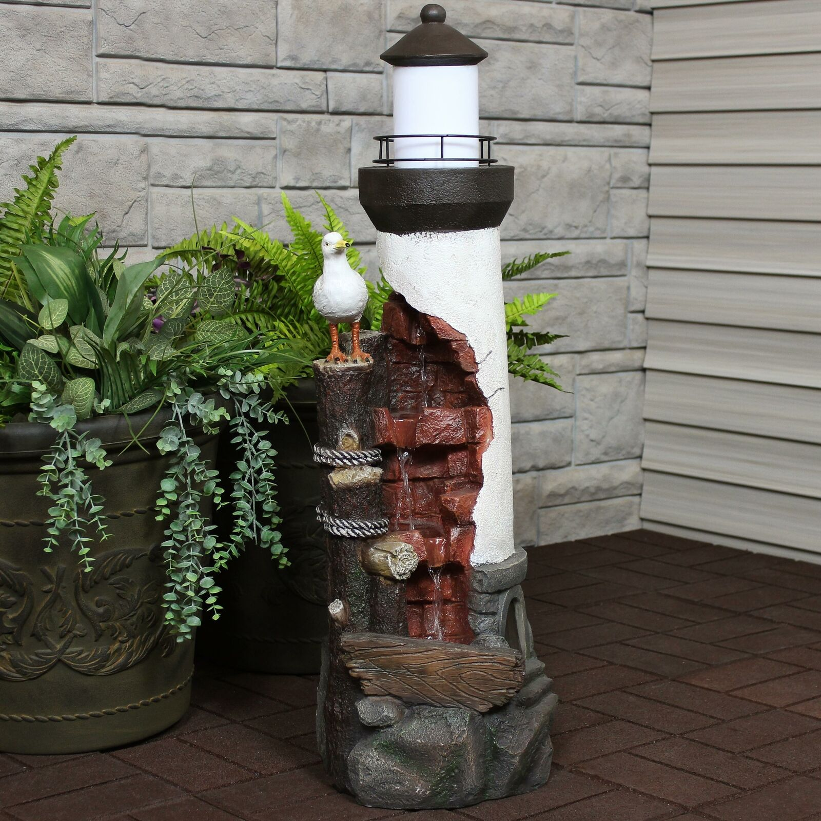 Sunnydaze Gull's Cove Outdoor Lighthouse Water Fountain with LED Light - 36-Inch