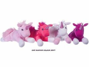 ONE RANDOM COLOURED SOFT UNICORN TOY UNICORNS 33 CM LONG BIRTHDAY VALENTINES