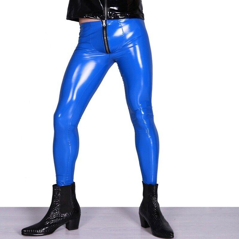 Men PU Skinny Pants Pencil Trouser Long Zipper Low Waist Faux Leather Wet Look