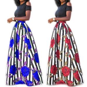 0d007a2d34 African Dashiki Women 2Pcs Set Top Stripe Print High Waist Long Maxi ...