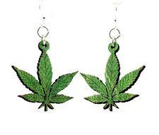 Hemp Leaves Marijuana Weed Wood Earrings Woman Fashion Jewelry Women MADE IN USA
