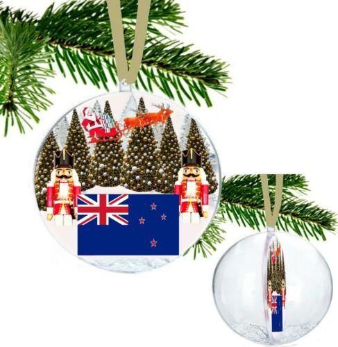 Nouvelle-Zélande Santa Sleigh Casse-noisette soldats Arbres De Noël Babiole Paillettes Neige