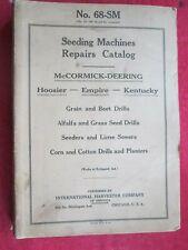 Mccormick Deering Seeding Machines Drills Planters Repairs Parts Catalog Manual