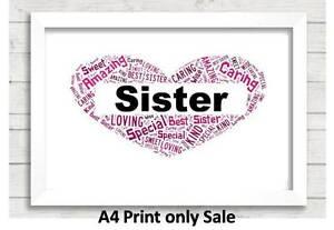 Image Is Loading Personalised Sister Word Art Gift Birthday Present Auntie