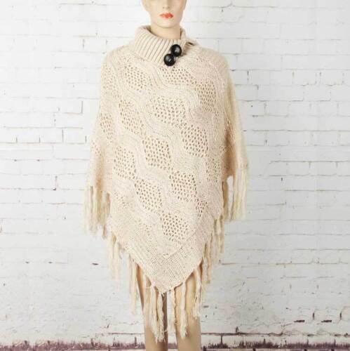 Women Poncho Cape Shrug Wrap Jumper Sweater Jersey Turtleneck Glitter Shine Chic