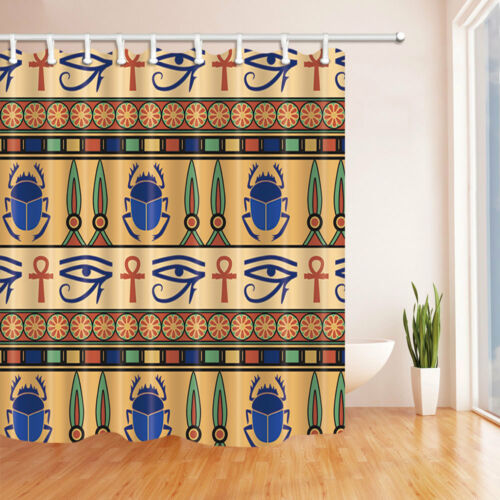 Egyptian ornament with scarabs Shower Curtain Bathroom Fabric /& 12Hooks 71*71in