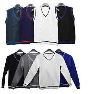 Boys-NEW-Knitted-Vest-Long-Sleeve-less-Jumper-Knit-Waistcoat-Top-V-Neck-2-10-Y