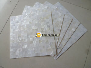 Image Is Loading Pure White Mother Of Pearl Seamless Groutless Shell