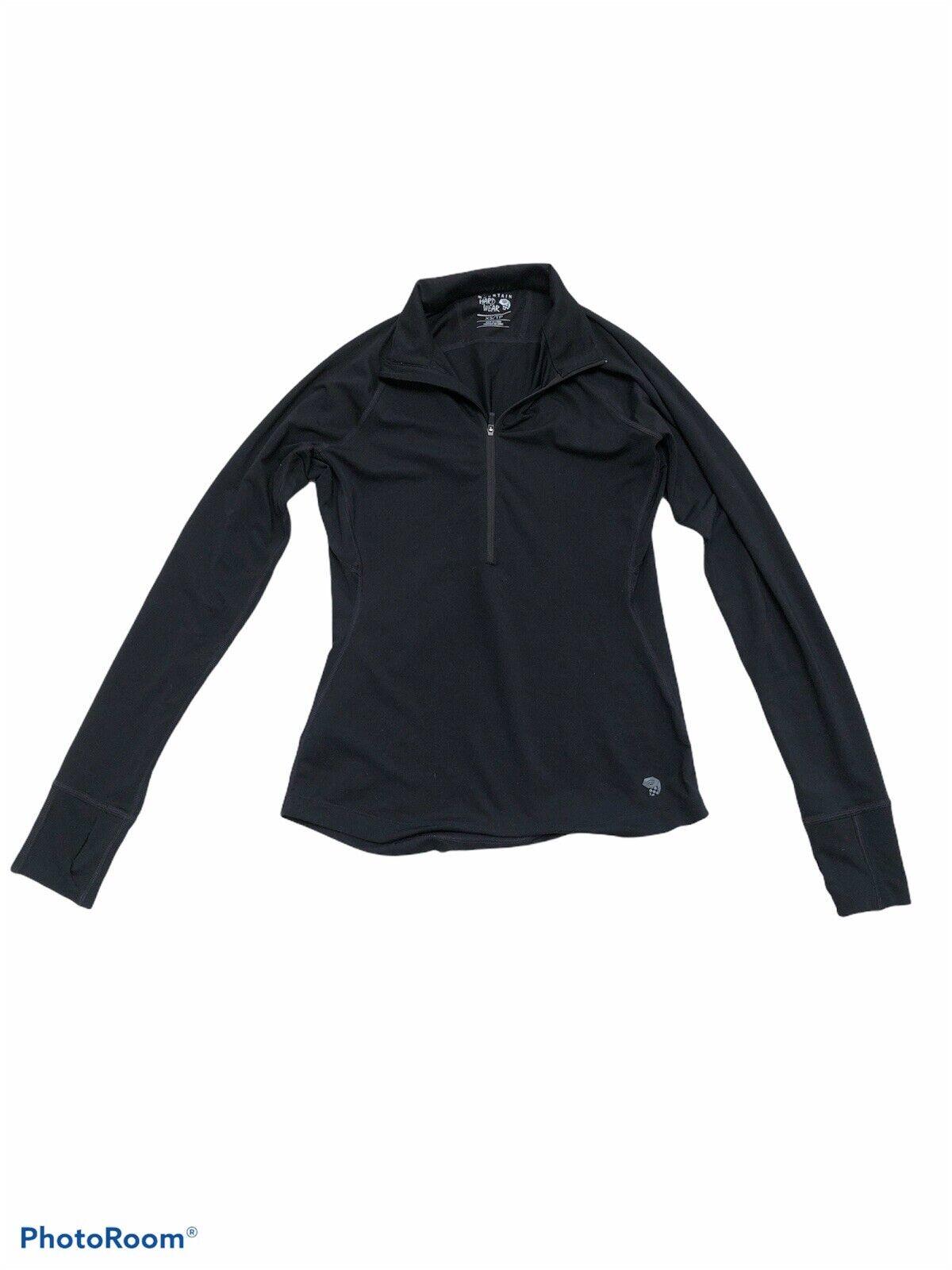 Mountain Hardwear Womens Black XS 1/4 Zip Shirt Wick IQ thumb holes long sleeve