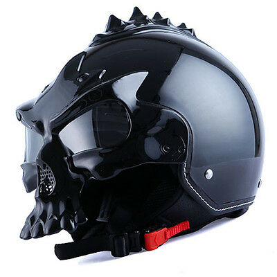 1STorm DOT Motorcycle Bike Open Face Helmet Novelty Half 3D Skull Glossy Black