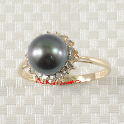 14k solide or jaune Peacock f//w Cultured Pearl; Diamants Cocktail Ring TPJ