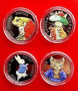 Full-2017-Beatrix-Potter-50p-Coin-Set-Inc-Mr-Jeremy-Fisher-Benjamin-Bunny-tom