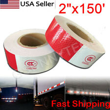 2x150 Red White Reflective Conspicuity Car Trailer Safe Tape Approved 1 Roll