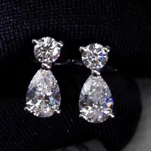 4-TCW-Round-amp-Pear-Cut-Diamond-Real-14k-White-Gold-Drop-Stud-Earrings