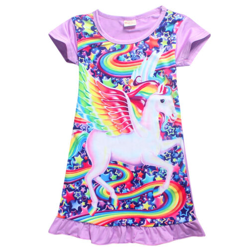 Kids Girl Sleepwear Nightdress Unicorn Pajamas Nightwear Nightgown T-shirt Dress