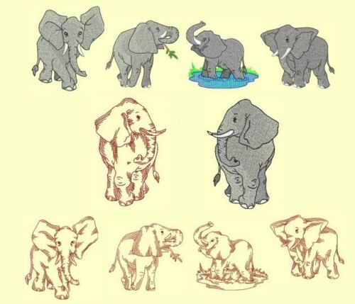 3.5 Diskette Elephants Machine Embroidery /& Redwork Designs-CD or USB Stick