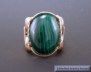 14 k Gold Filled Malachite Cabochon Wire Wrapped Ring