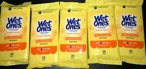 * VALUE PACK * (5 packs) WET ONES Wipes 100 ! FREE SHIPPING!