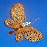 Pier 1 Imports - Glittery Gold Butterfly Christmas Tree Ornament Clip On -