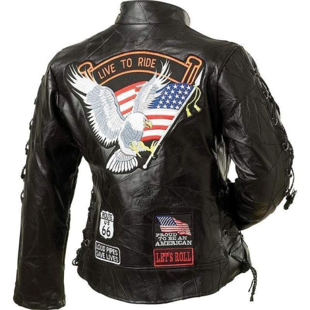 Womens Black Genuine Buffalo Leather MOTORCYCLE JACKET Coat Biker US Eagle Flag