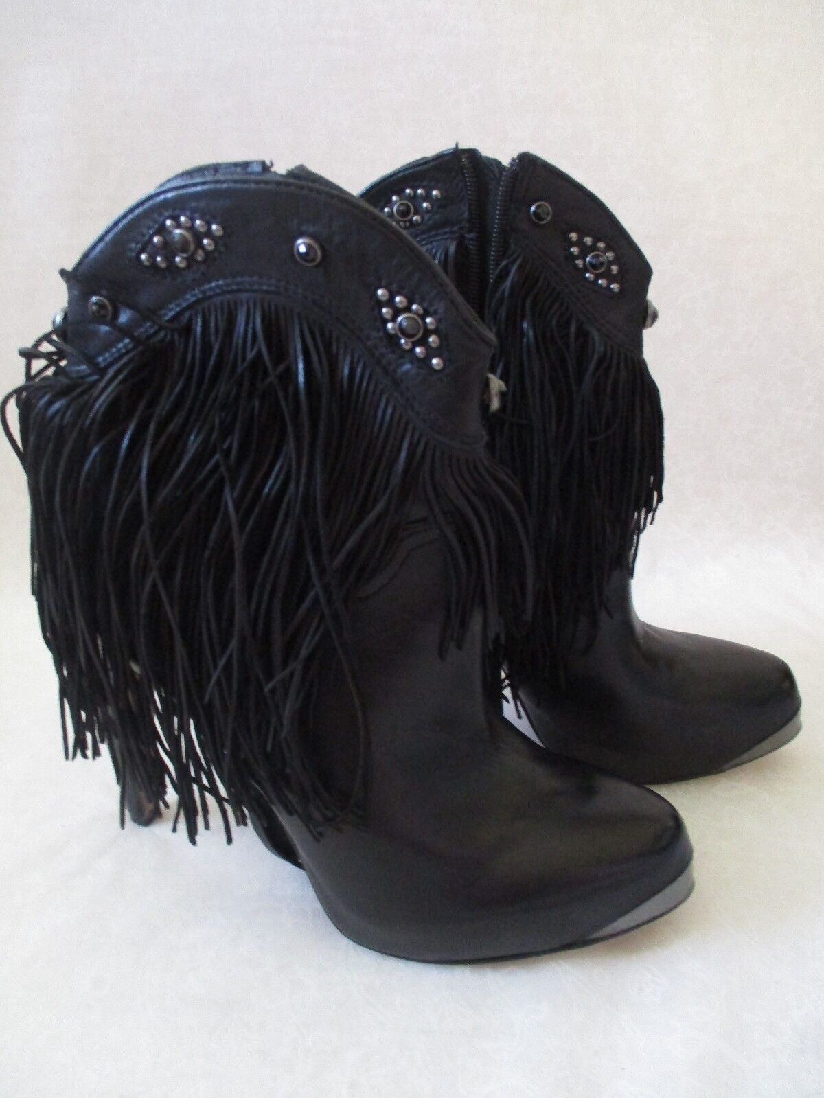 250 SAM EDELMAN BLACK GENUINE LEATHER ANKLE BEADED BOOTS SIZE 7 M - NEW