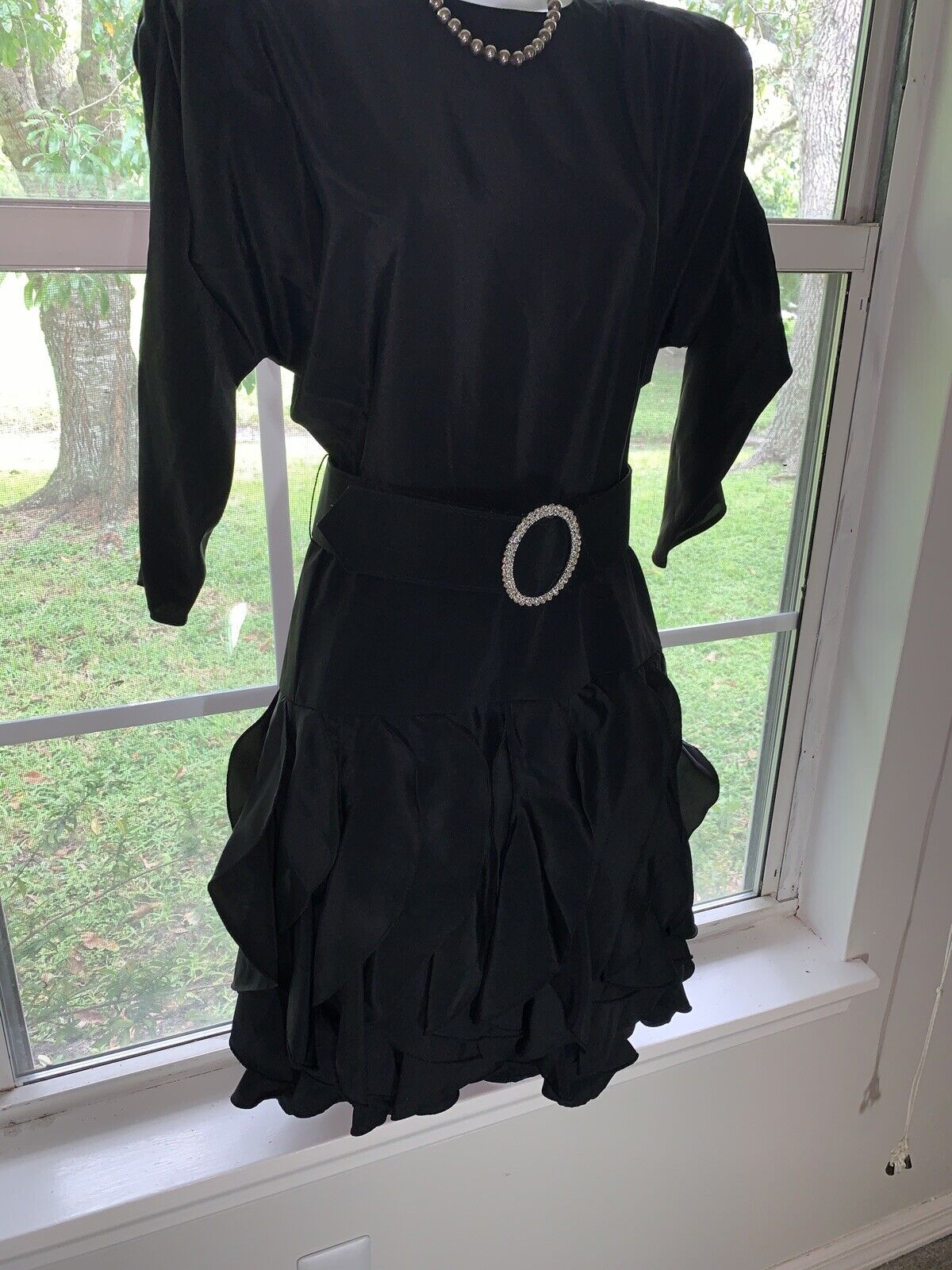 1980's Sexy Little Black Dress Rhinestone BELT RU… - image 2