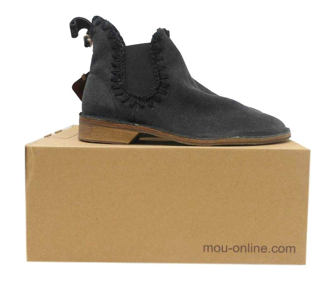 Señoras Negras Mou Chelsea botas con detalle de puntada Talla UK 6 MO2