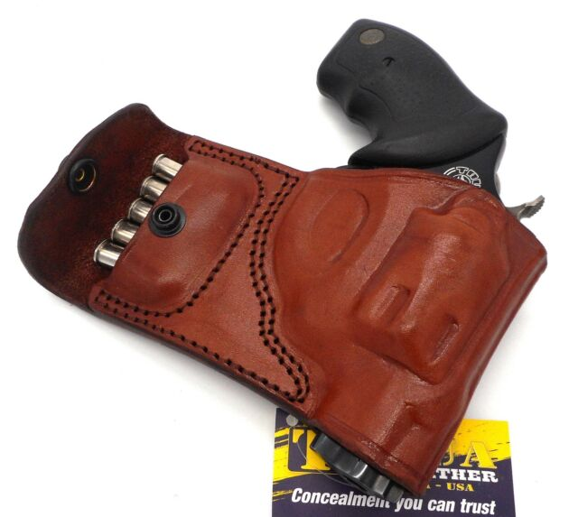Tagua Brown Leather RH OWB Belt Holster With Ammo Pouch S&w J-frame 38  Revolver