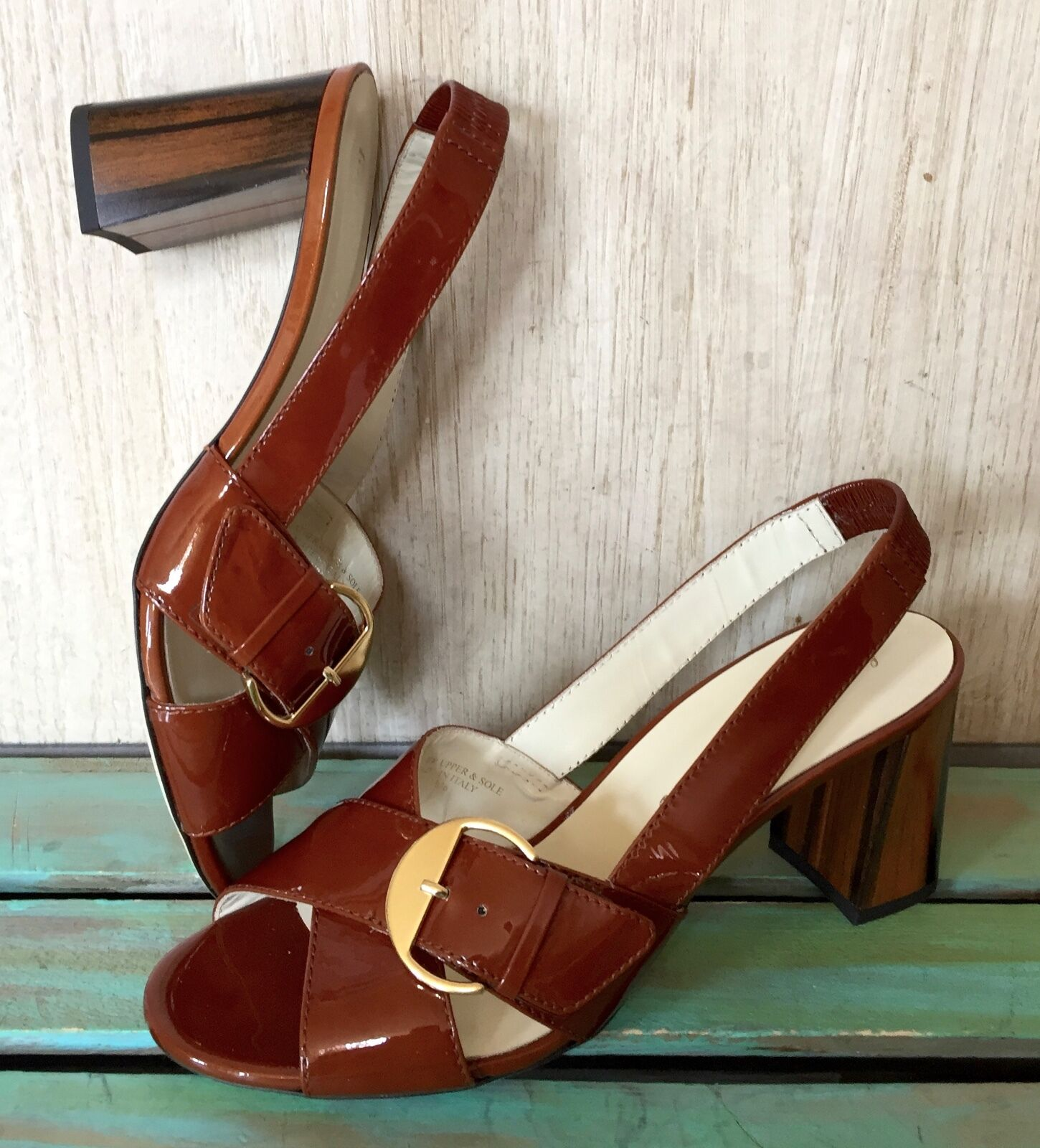 NIB Anthropologie Bettye Muller brown rust Patent Leather Slingback Sandals 38/8