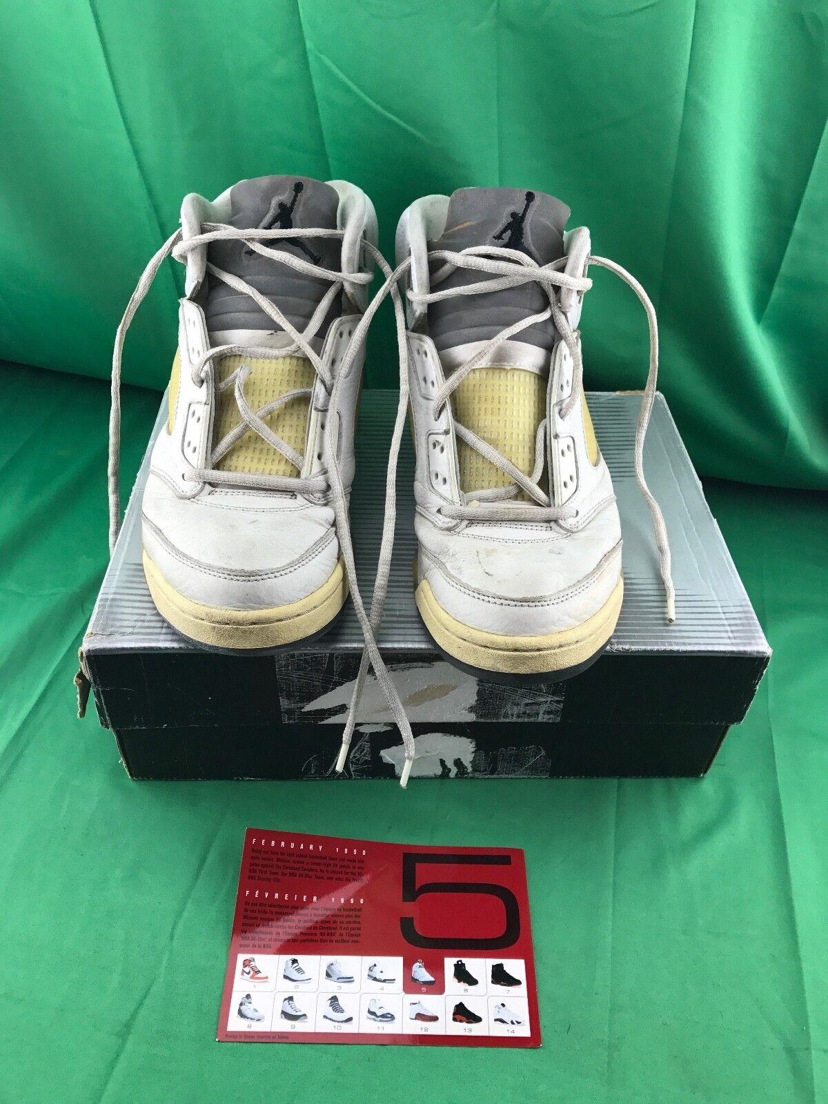 2018 Nike Air Jordan 5 retro V og SZ 136045-101 10,5 Blanco Metallic Plata 136045-101 SZ DS b7eb2f