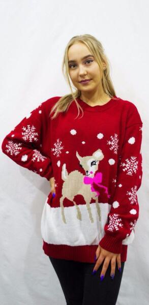 4a2b9bc08dbe AM Women Ladies Christmas Bambi Baby Deer Print Knitted Xmas Jumper ...