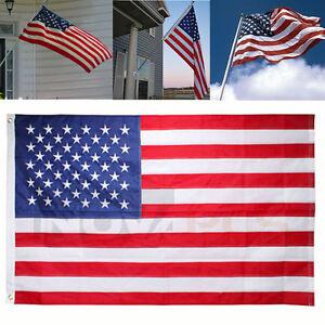 American-Flag-3-039-x5-039-FT-USA-US-U-S-Sewn-Stripes-Stars-Brass-Grommets