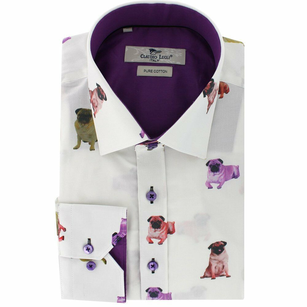Claudio Lugli Mops Aufdruck Hemd