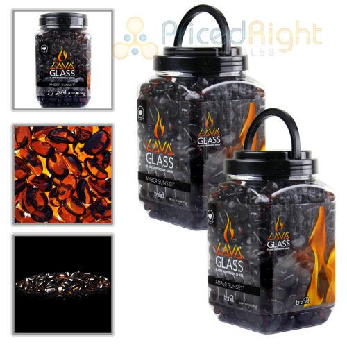 2 Pack Fireplace Amber Sunset Mini Cut LavaGlass Firepit Dispersion Glass 20lbs