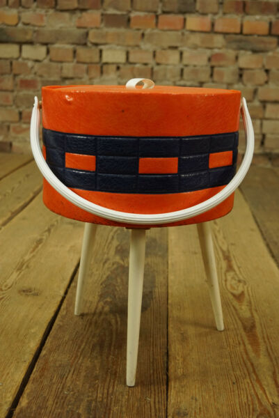 Années '70 Milieu Du Siècle Table De Couture Utensilo Corbeille Boîte Rockabilly