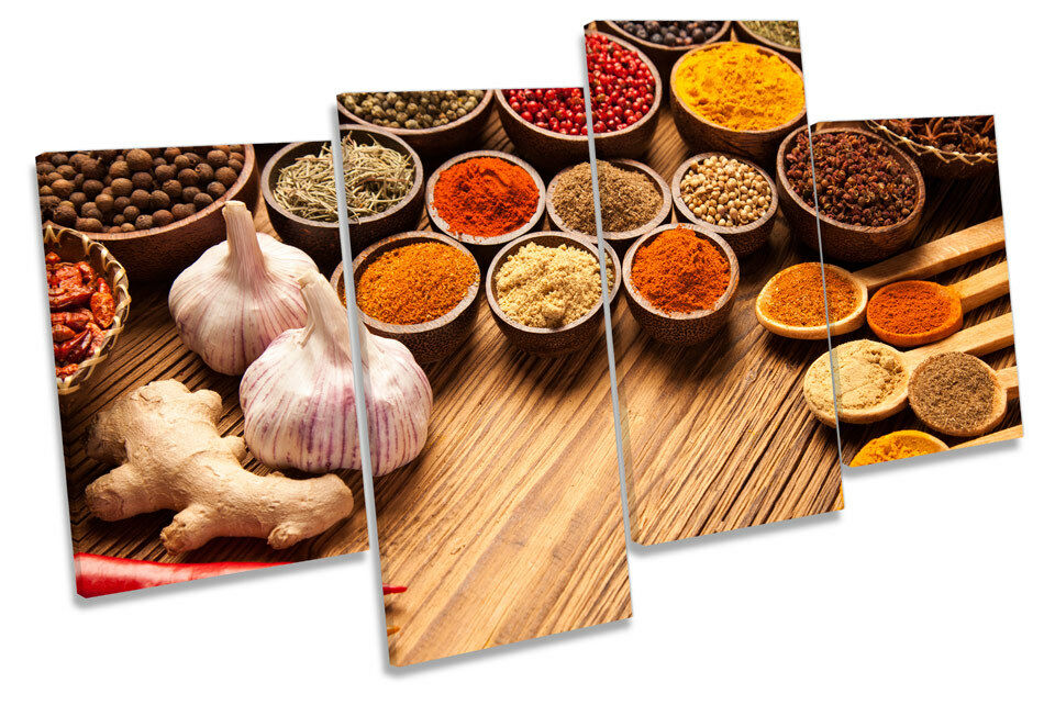 Indian Curry Spices Herbs Picture MULTI CANVAS WALL ART Print