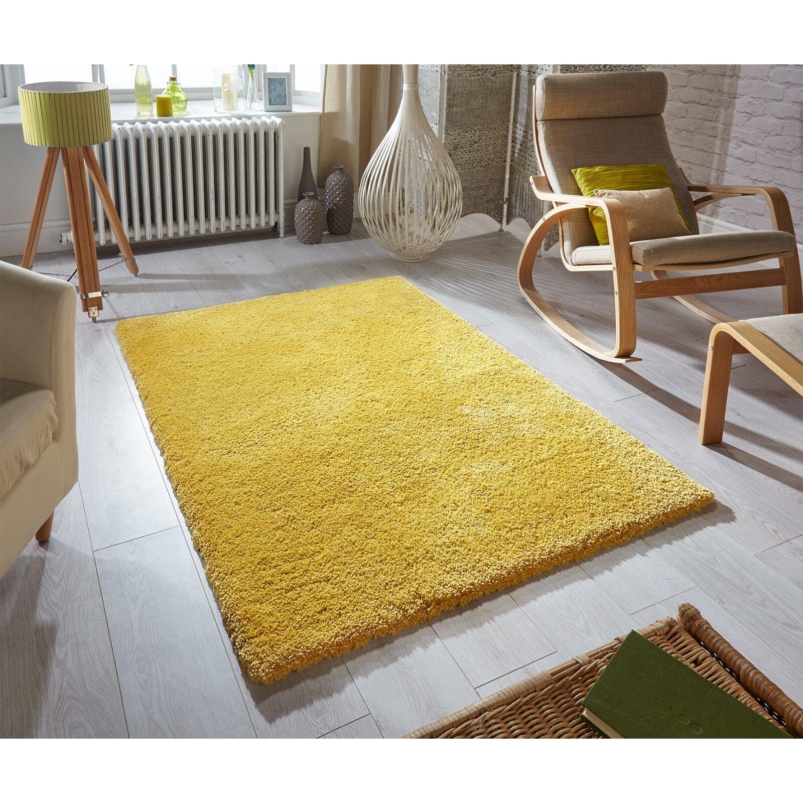 Douceur doux jaune moutarde super doux Douceur tapis ébouriffé disponible en divers tailles 47248c