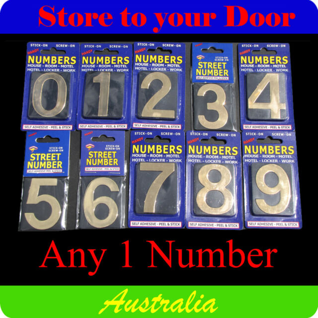1 x House Numbers, Street Numbers, Letterbox Numbers - Self Adhesive