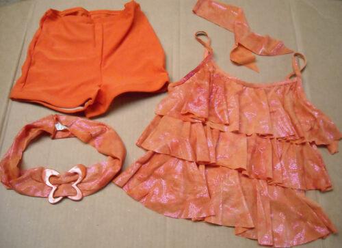 NEW JAZZ DANCE COSTUME ORANGE FOIL Ruffles LADIES Szs top shorts /& BELT 3 pieces