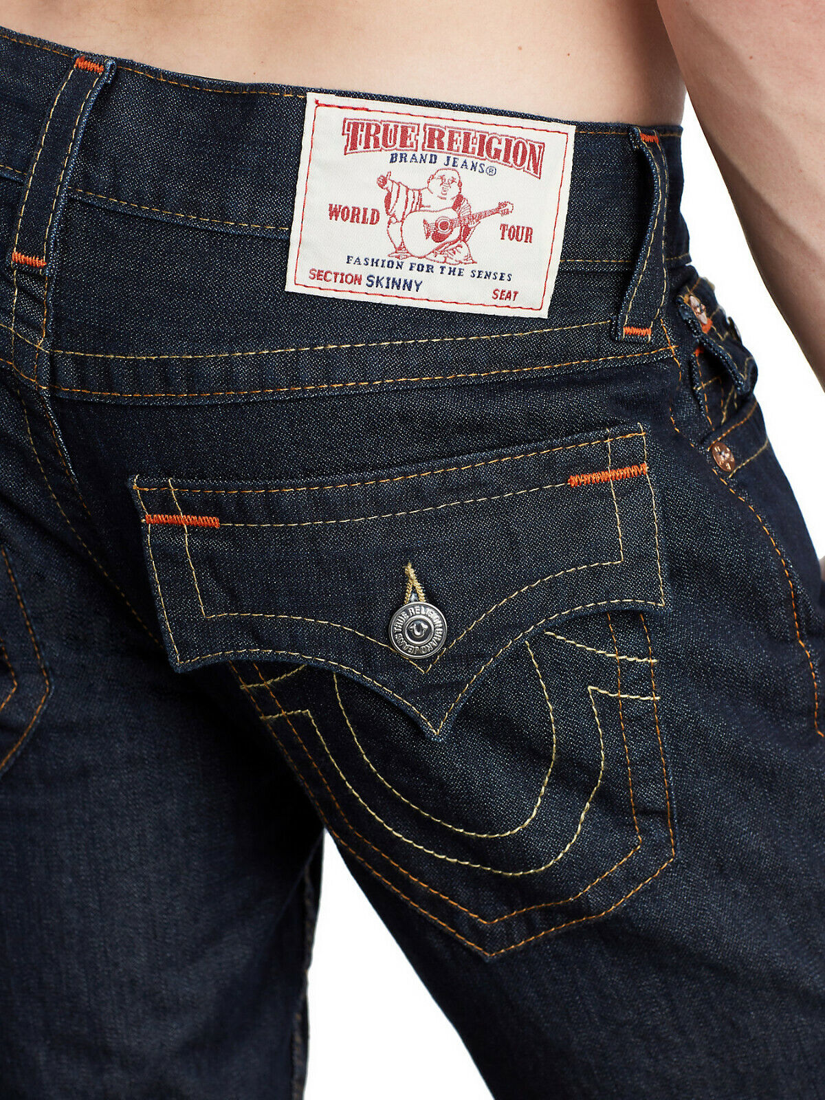 True Religion Men's Rocco Skinny World Tour Jeans w Flap Pockets in Body Rinse