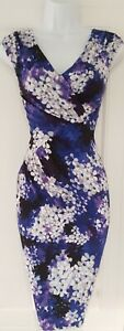 Womens-Phase-Eight-Cobalt-Blue-Lilac-Floral-Ruched-Draped-Wiggle-Bodycon-Dress-8