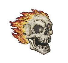 Skull And Flames Embroidered Iron On Biker Applique Patch p3537