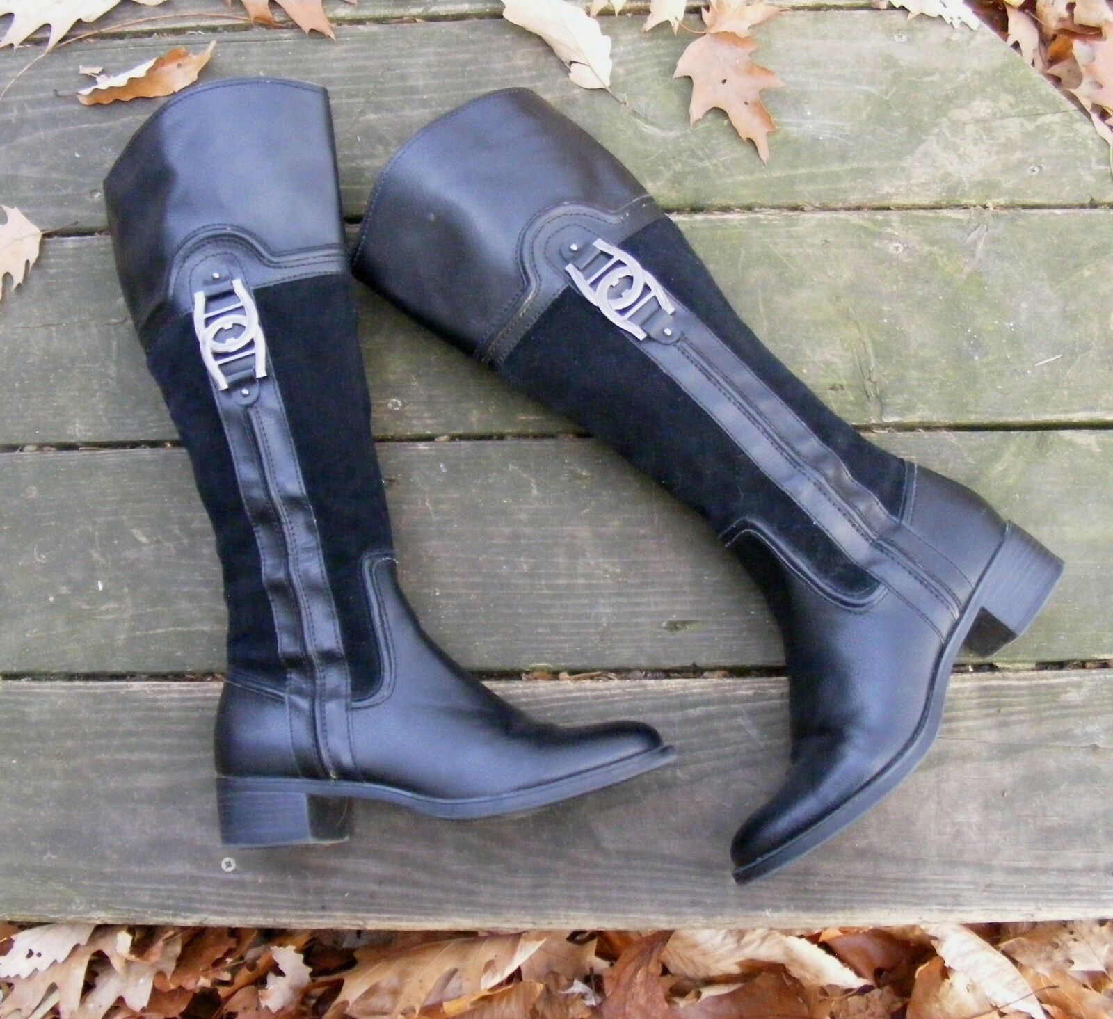 ETIENNE AIGNER RIDING BOOTS, Black Leather w  Man made Knee-High Codona Boots 7M