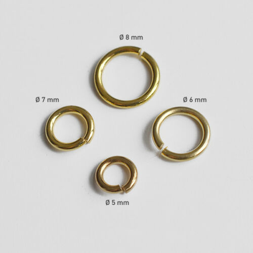 10 Gramm // Messing Spaltringe Biegering 5x1 6x1 8x1mm Gold-Farben Ösen 7x1