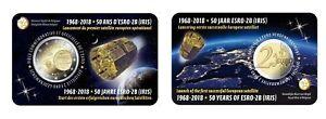 2-Euro-Gedenkmunze-BELGIEN-2018-Coincard-50-Jahrestag-Satelliten-ESRO-2B-FR