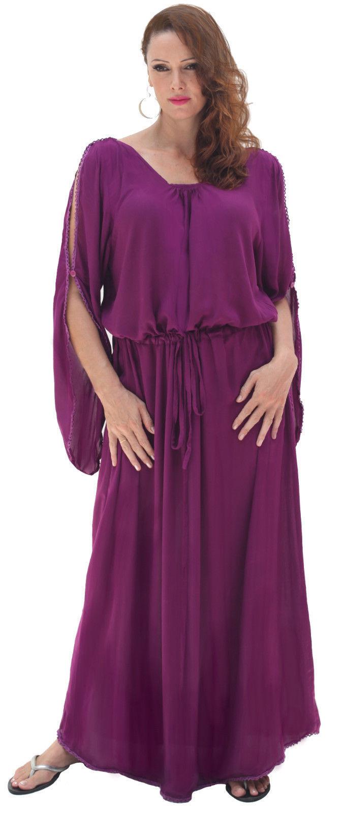 purple maxi dress cold shoulder drawstring M L XL 1X 2X ONE SIZE zr103